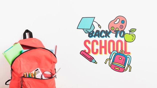 Zaino vista frontale con materiale scolastico