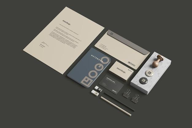 Zakelijk briefpapier branding mockup perspectiefweergave