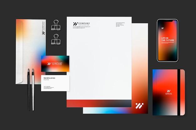 Zakelijk briefpapier set mockup psd in gradiënt moderne stijl