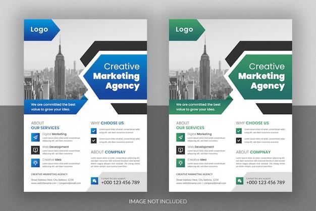 Zakelijk digitaal marketingbureau flyer ontwerp en brochure voorbladsjabloon