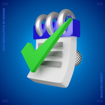 Zakelijke 3d-rendering pictogram taak voltooid