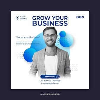 Zakelijke banner of vierkante flyer-sjabloon voor postontwerp op sociale media
