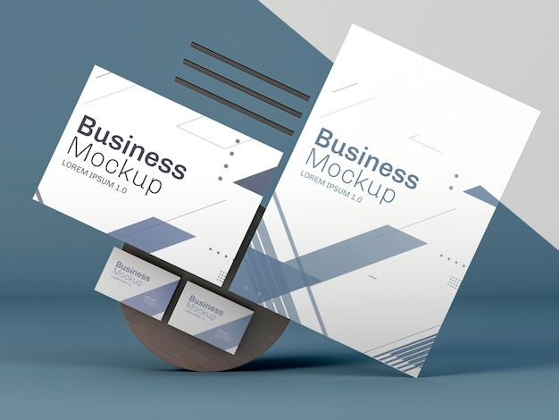 Zakelijke briefpapier mock-up op blauwe achtergrond