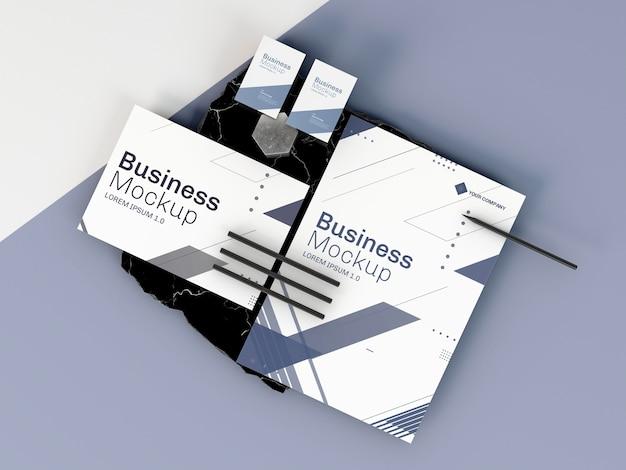 Zakelijke briefpapier mock-up plat leggen