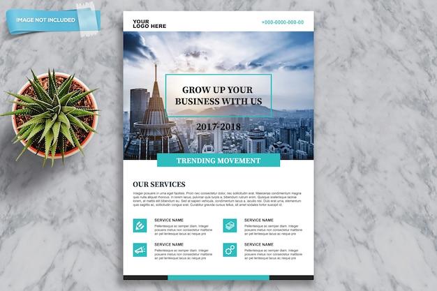 Zakelijke brochure mockup met plant