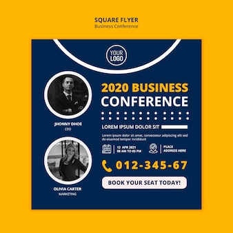 Zakelijke conferentie concept vierkante flyer-sjabloon