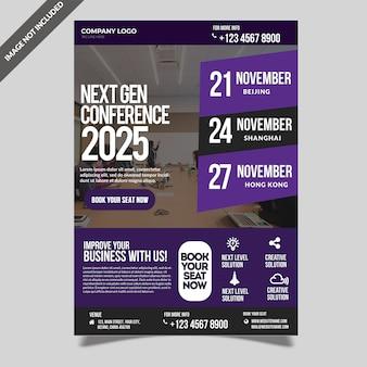 Zakelijke conferentie seminar evenement sjabloon folder