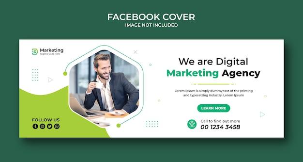 Zakelijke en digitale zakelijke marketingpromotie facebook-omslagontwerp