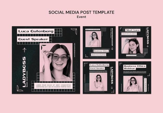 Zakelijke evenement sociale media post-sjabloon