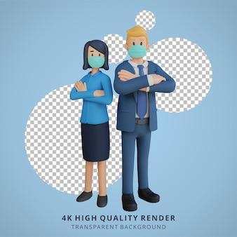 Zakelijke man en vrouw staan naast elkaar karakter dragen masker 3d karakter illustratie