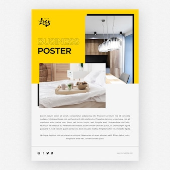 Zakelijke poster sjabloon met slaapkamer interieur