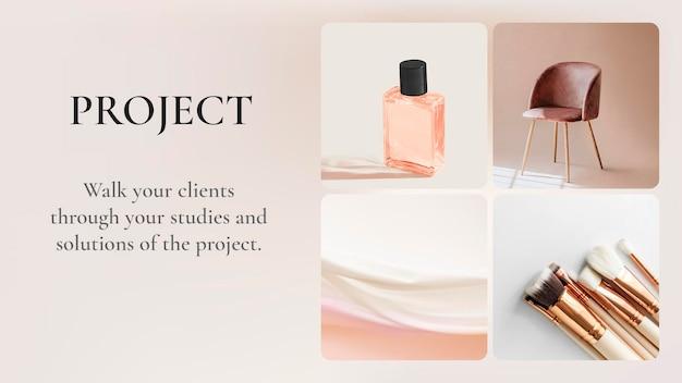 Zakelijke presentatie dia sjabloon psd-project in aardetint