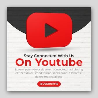 Zakelijke promotie 3d render icoon voor youtube en social media post template