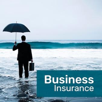 Zakelijke verzekeringssjabloon psd voor sociale media met bewerkbare tekst