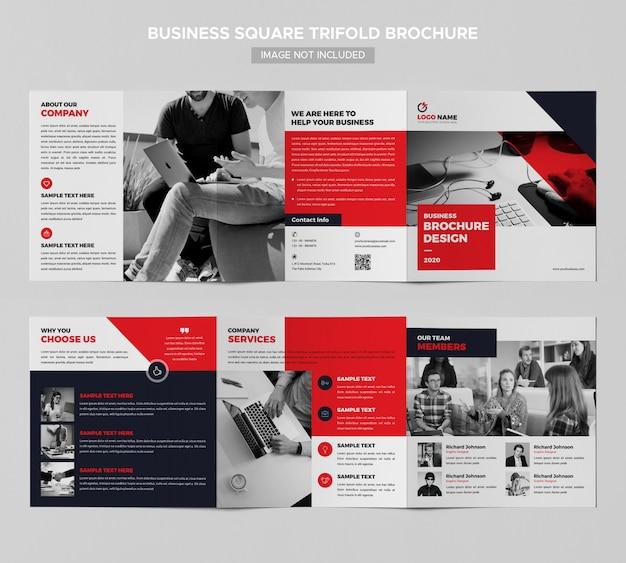 Zakelijke vierkante driebladige brochureontwerp