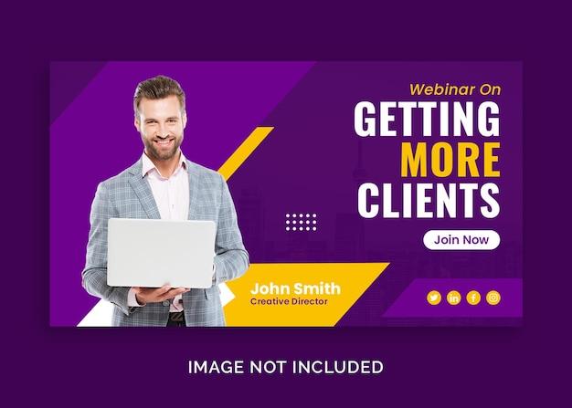 Zakelijke zakelijke webinar voor marketing youtube-thumbnail of webbannersjabloon