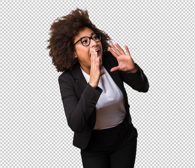 Zakelijke zwarte vrouw schreeuwen