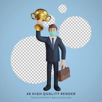 Zakenman die een masker draagt die een illustratie van het trofeekarakter opheft 3d-rendering