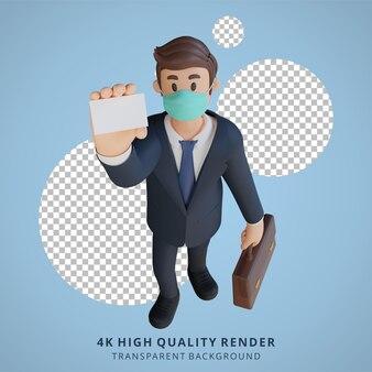 Zakenman die een visitekaartjekarakter houdt dat masker 3d karakterillustratie draagt