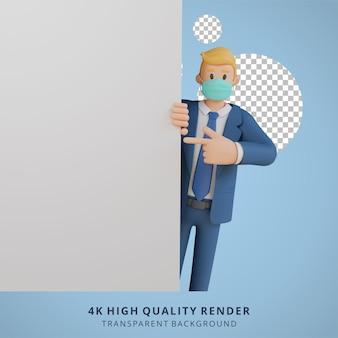 Zakenman die iets op een leeg wit bladkarakter toont dat masker 3d karakterillustratie draagt