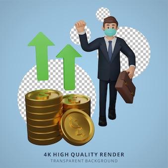 Zakenman die maskers draagt is blij met de stijging van de 3d-weergave van de wisselkoersillustratie
