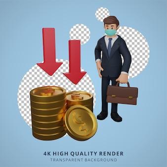 Zakenman die maskers draagt, is verdrietig over de daling van de illustratie van het wisselkoerskarakter 3d