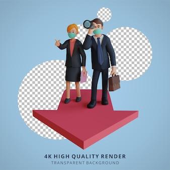 Zakenman en vrouw die een oplossing zoeken met pijlenkarakter die masker 3d karakterillustratie dragen