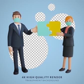 Zakenman en vrouw die een puzzelkarakter samenstellen die masker 3d karakterillustratie dragen