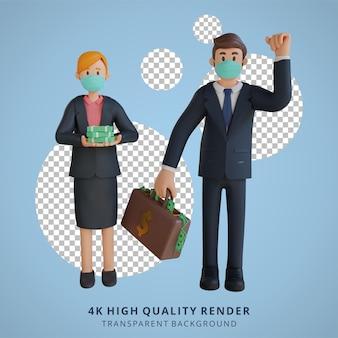 Zakenman en vrouw die heel wat geldkarakter houden die masker 3d karakterillustratie dragen