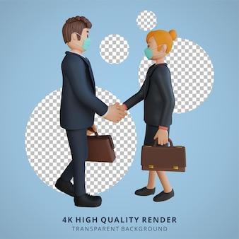 Zakenman en zakenvrouw karakter illustratie 3d-rendering