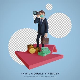 Zakenman op zoek naar iets met een verrekijker karakter dragen masker 3d karakter illustratie