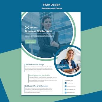 Zakenvrouw flyer ontwerp voor zakelijke evenement