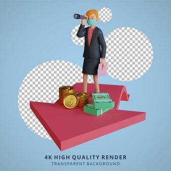 Zakenvrouw op zoek met een verrekijker en pijlen karakter dragen masker 3d karakter illustratie