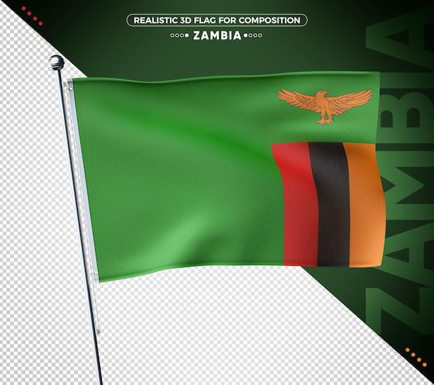 Zambia 3d-vlag met realistische textuur
