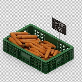 Las zanahorias isométricas render 3d