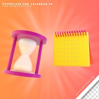Zandloper en kalender 3d