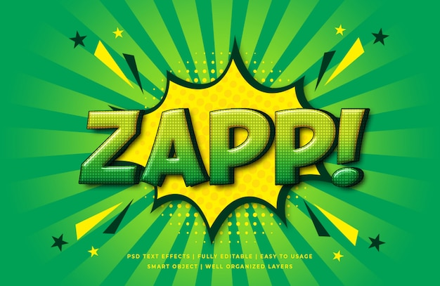 Zap comic speech 3d text style effect