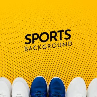 Zapatos deportivos con espacio de copia y maqueta