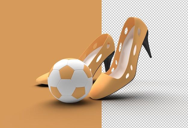 Zapatos de mujer clásicos con estilo con fútbol en altas colinas archivo psd transparente.