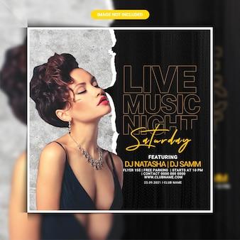 Zaterdag live muziek nachtclub feest flyer