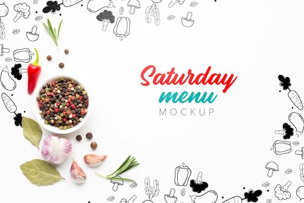 Zaterdag menu mock-up met peper en kruiden