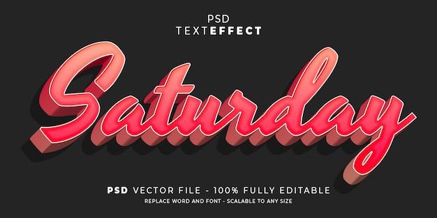 Zaterdag tekst- en lettertype-effect stijl bewerkbare sjabloon premium