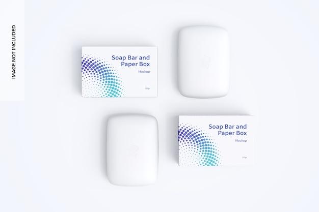Zeepstaaf en papieren dozen mockup