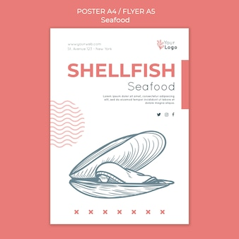 Zeevruchten concept folder sjabloon