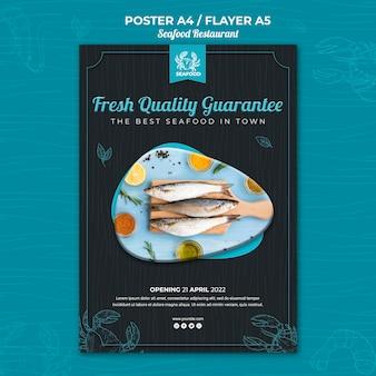 Zeevruchten restaurant folder sjabloon