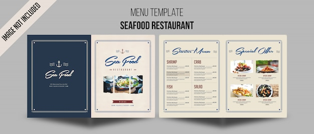 Zeevruchten restaurant menusjabloon