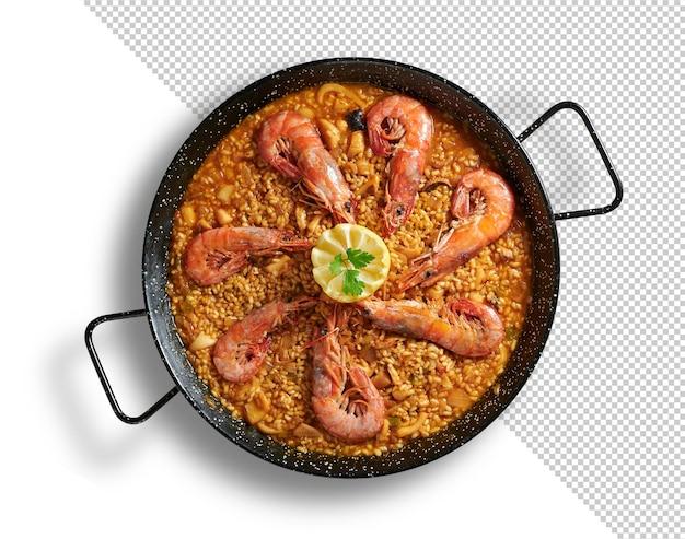 Zeevruchtenpaella in de pan met garnalen, mockup