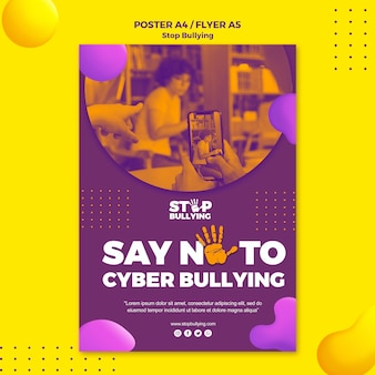 Zeg nee tegen cyberpesten flyer-afdruksjabloon