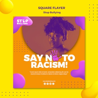 Zeg nee tegen racisme vierkante flyer print sjabloon