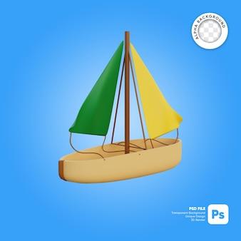 Zeilboot front look 3d-object